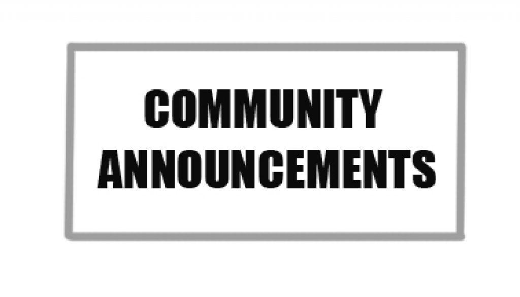 Community Announcements 2020